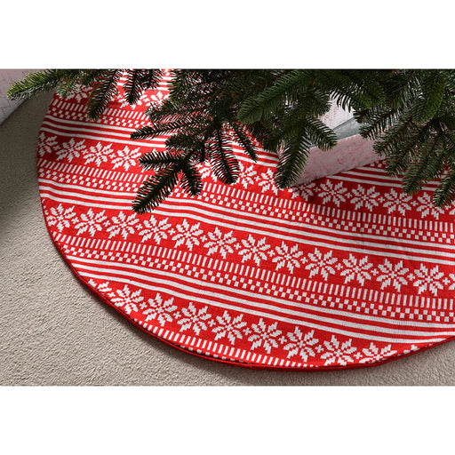 Fairisle Snowflake Christmas Tree Skirt Decoration, 122 cm - Large, Red/White