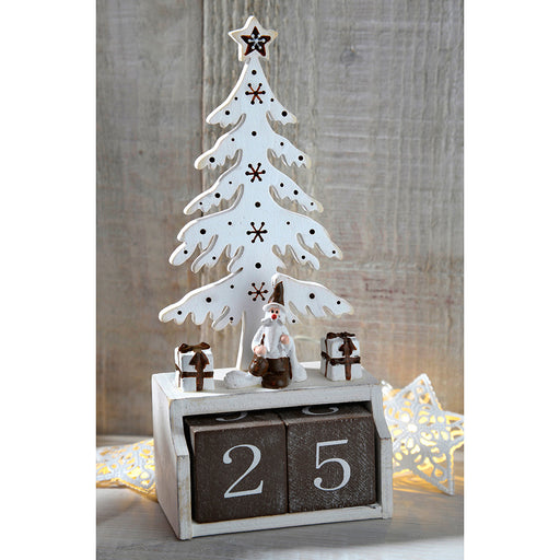 White Wooden Tree Advent Calendar Christmas Decoration, 19 cm