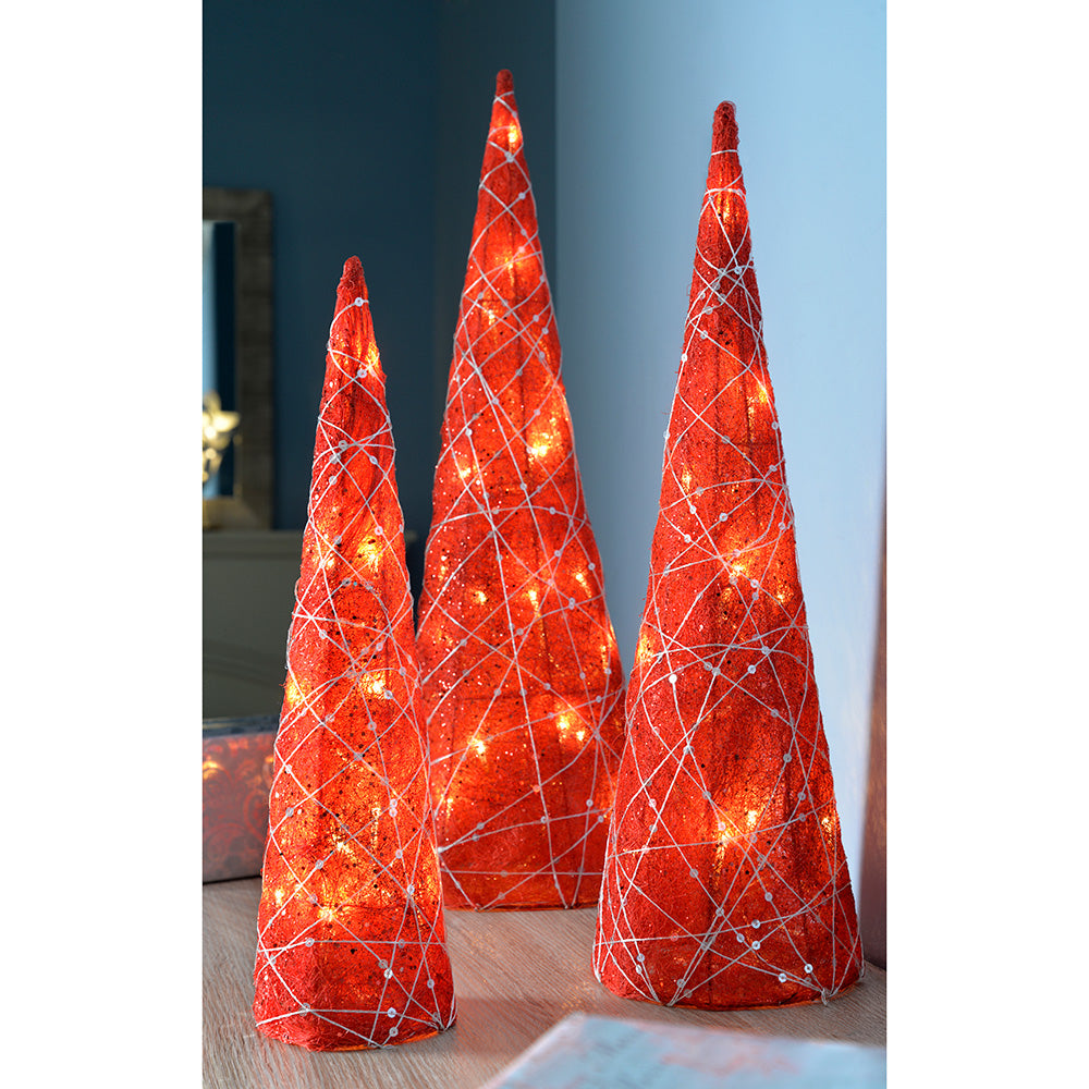 Pre-Lit Sisal Tree Cones, 40 Warm LED Lights, Woven Silver Glitter String, 41/51/61 cm - Set of 3