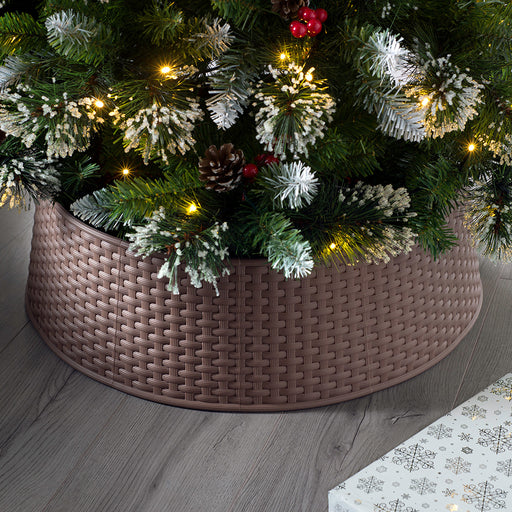 Large Rattan Effect Christmas Tree Skirt, Brown, 19cm