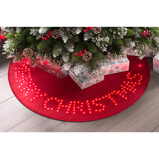Merry Christmas Tree Mat, Pre-Lit with 150 LED Lights, Red, 90cm