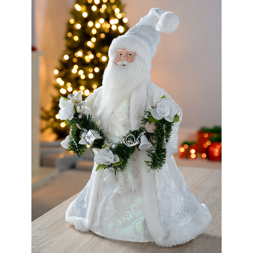 40 cm Santa Decoration Christmas Tree Top Topper, Silver/ White