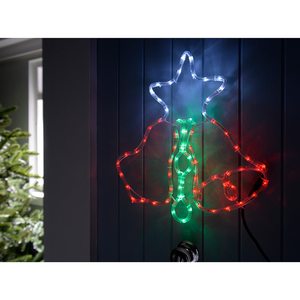 46 cm Pre-Lit LED Bells and Star Rope Light Window Silhouette, Multi-Colour
