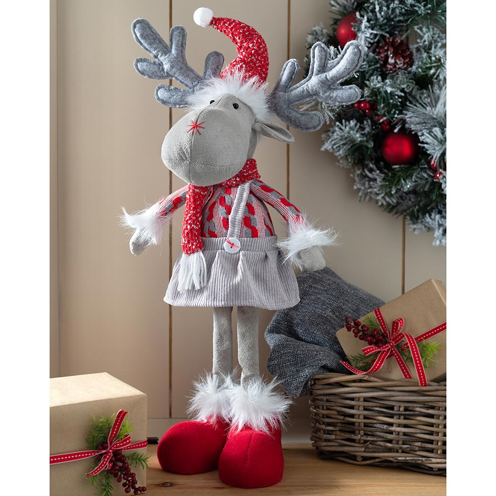 Standing Christmas Reindeer Figurine, Red and Grey, 55 cm