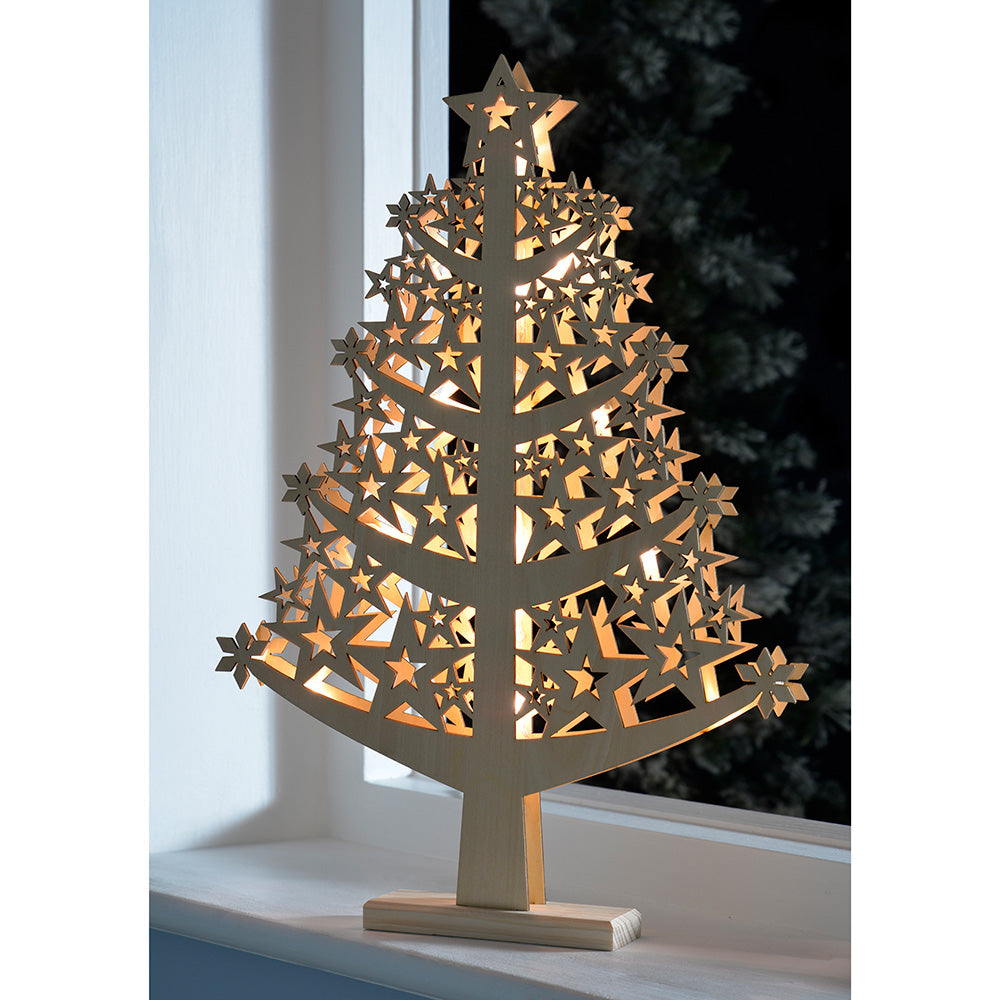Pre-Lit Star Christmas Tree Table Decoration, Wood, 50 cm