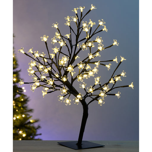 Pre-Lit Illuminated Cherry Blossom Tree with 96-LED, 2 ft/60 cm - Warm White
