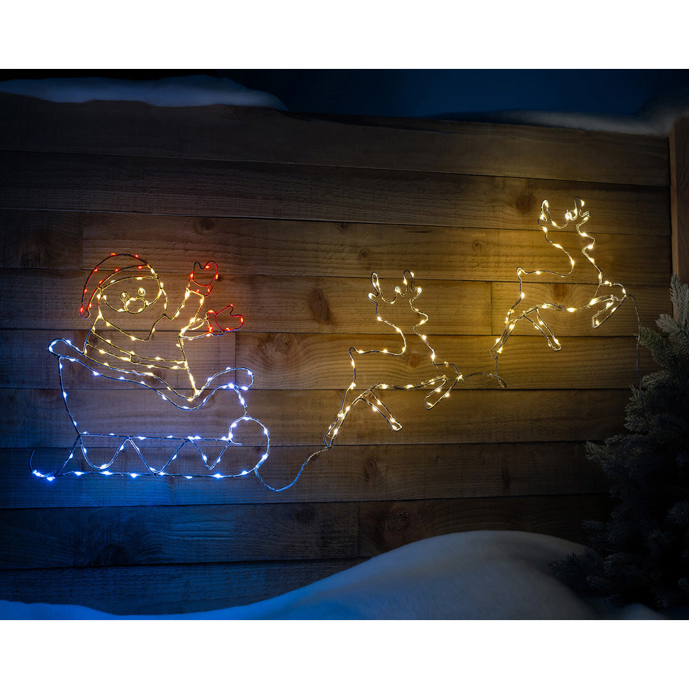 Twin Reindeer with Santa Sleigh Animated Silhouette, 190 LEDs, 1 m
