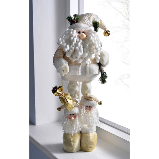 Free Standing Father Christmas with Extendable Legs, 34-53 cm - Cream/Gold