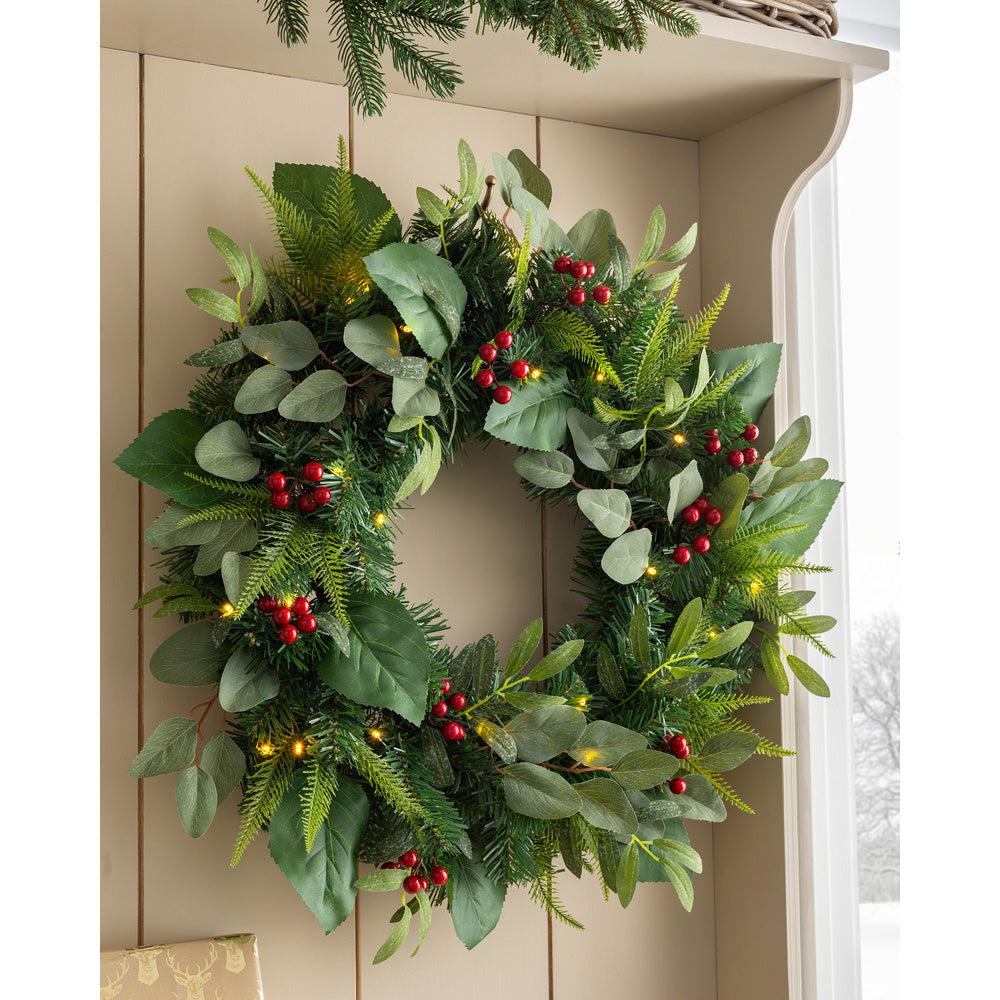 Pre-Lit Eucalyptus and Berry Decorated Wreath with LED Lights, 60 cm