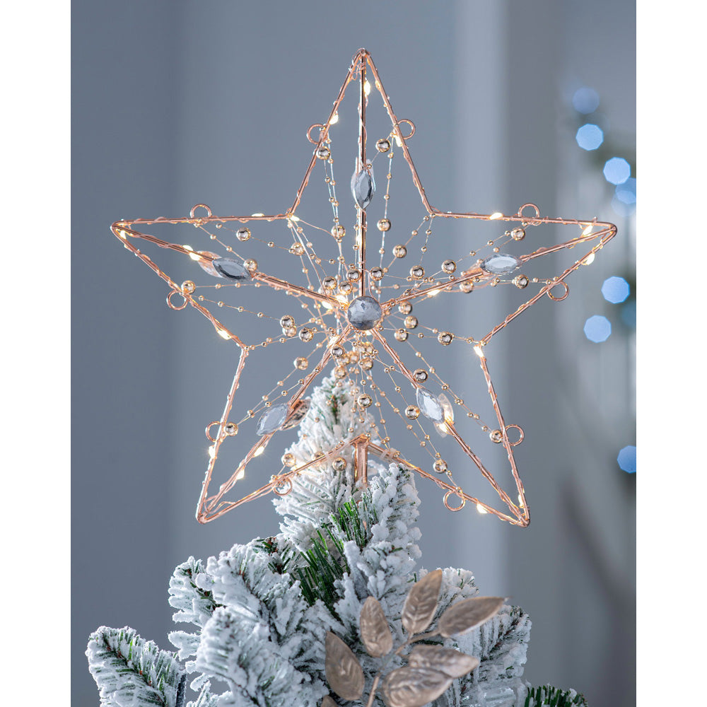 Pre-Lit Star-Shaped Christmas Tree Topper with Beads and Diamonds, 29cm