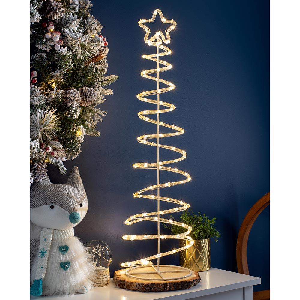 Copper LED Warm White Light Spiral Tree Silhouette 82 cm