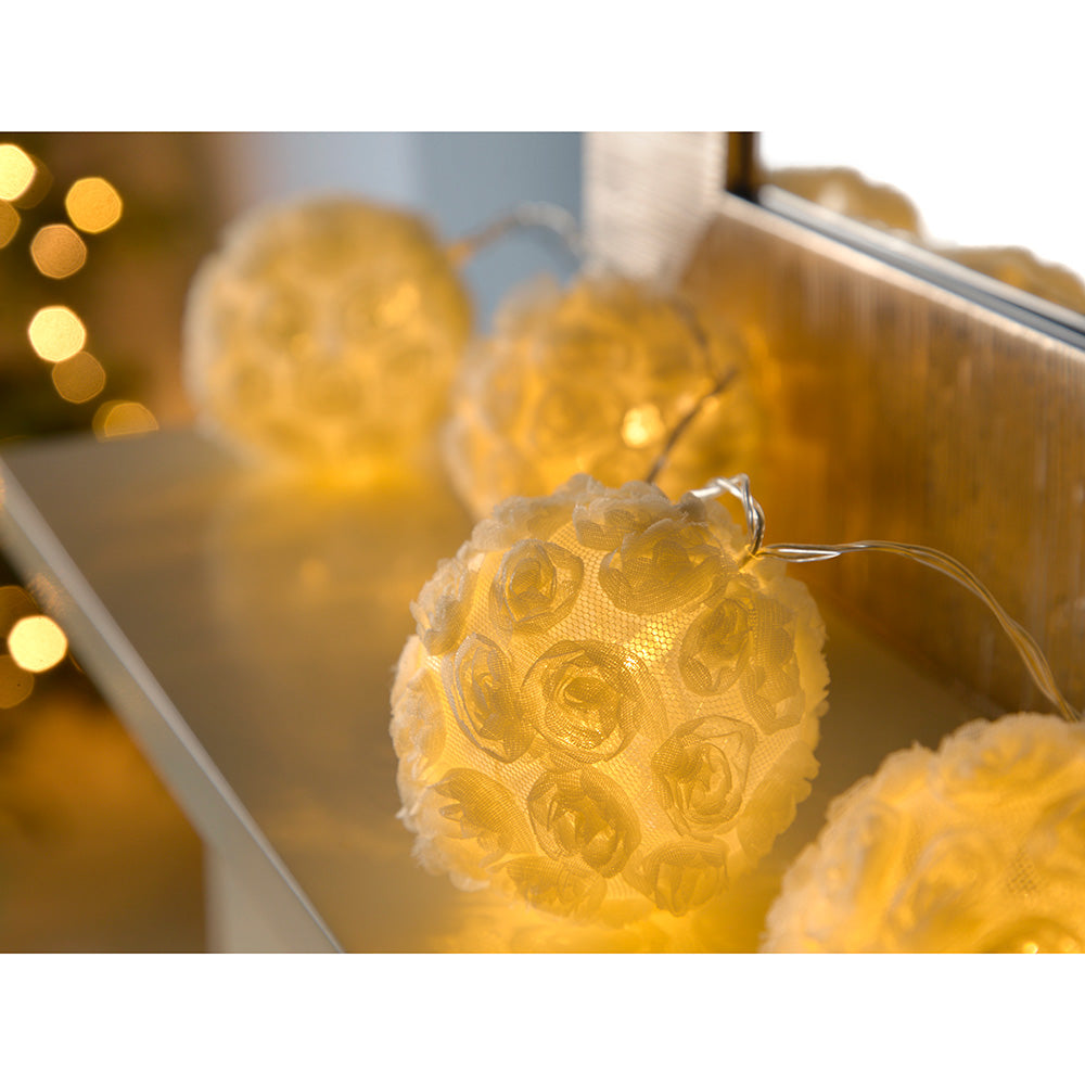 Rose Ball Light String Christmas Lights with 10-Warm White LED lights