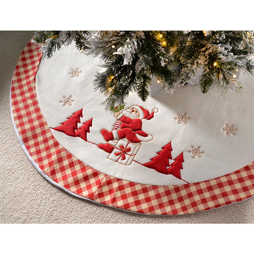 Checked Santa Design Christmas Tree Skirt Decoration, 107 cm - Red/White