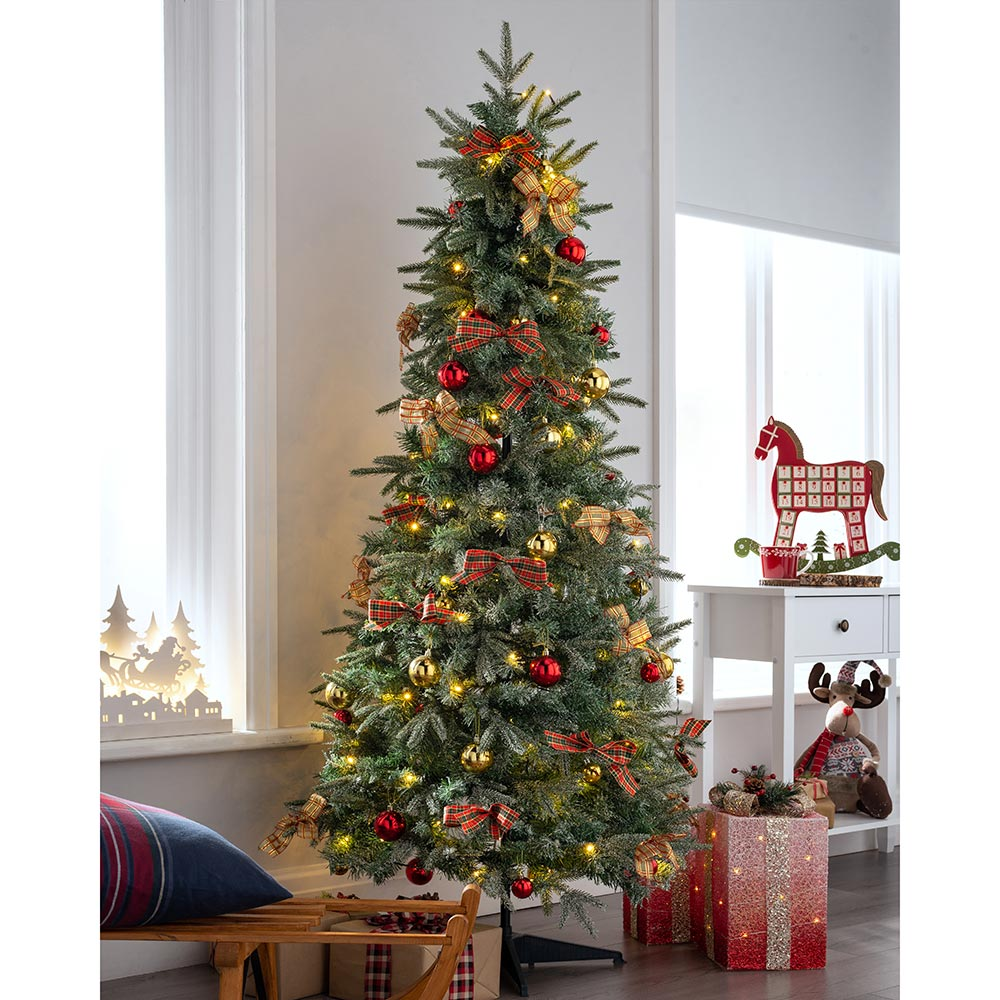 Pre-Lit Pop Up Decorated Christmas Tree with 100 Warm White LED Lights