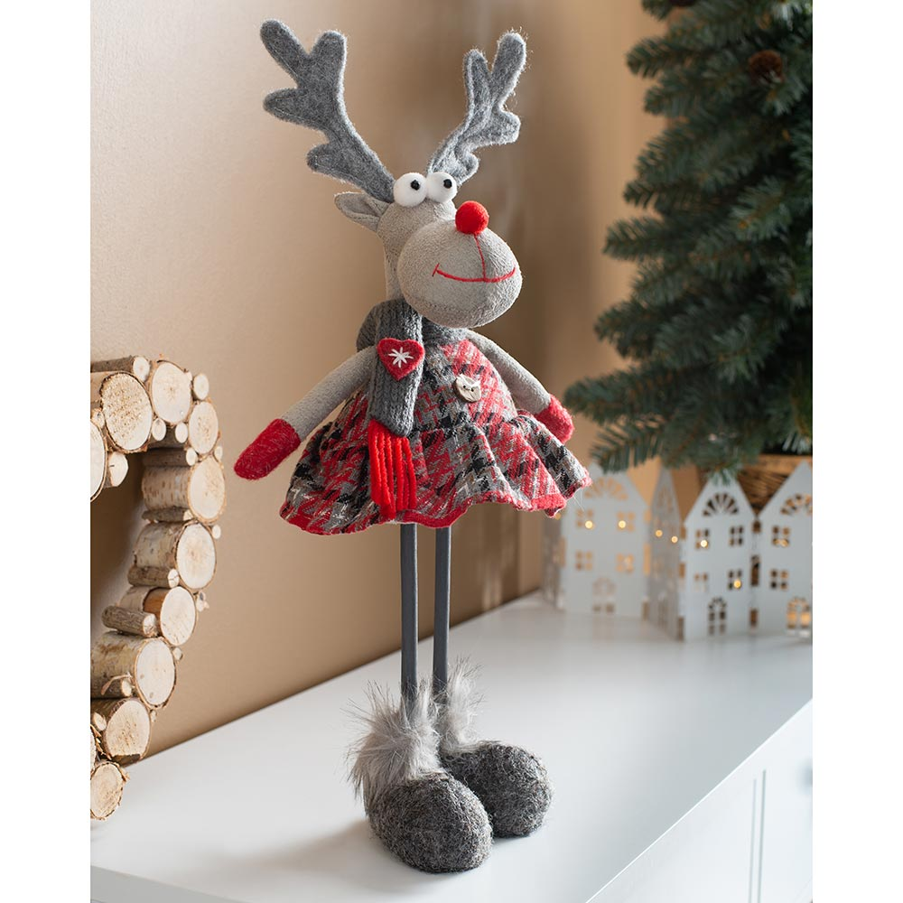 Standing Christmas Reindeer Figurine, Red and Grey, 30 cm