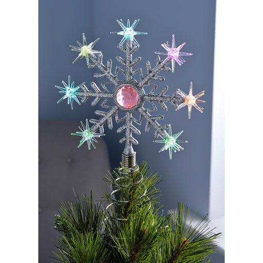Pre-Lit Snowflake Christmas Tree Topper Decoration with 8 Colour Changing LED Lights, 29 cm