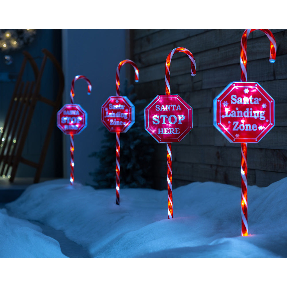 Christmas Candy Cane Garden Pathway Lights, 60 LEDs, Set of 4, 80 cm