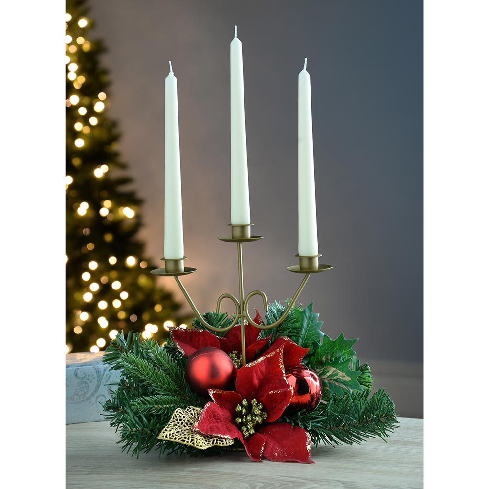 Decorated Table Centre Piece Candle Holder - Red/Gold