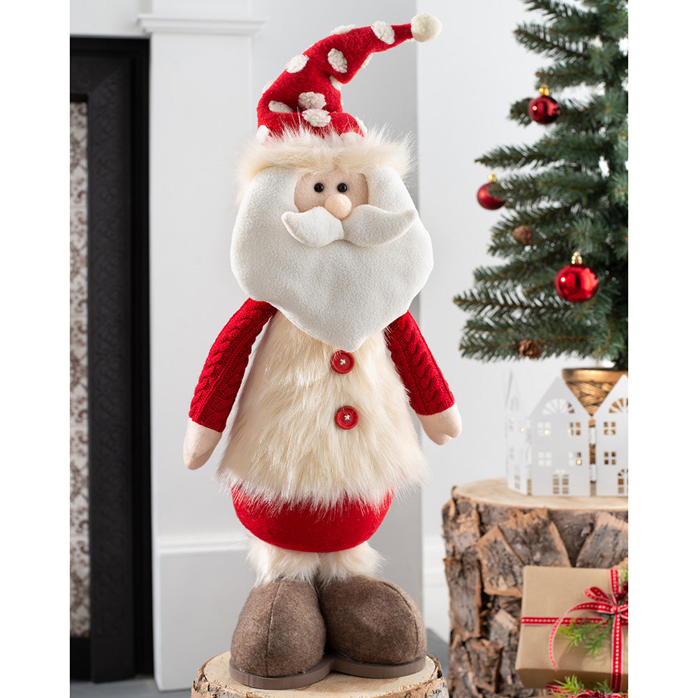 Standing Christmas Santa Figurine, Red and Cream, 45 cm