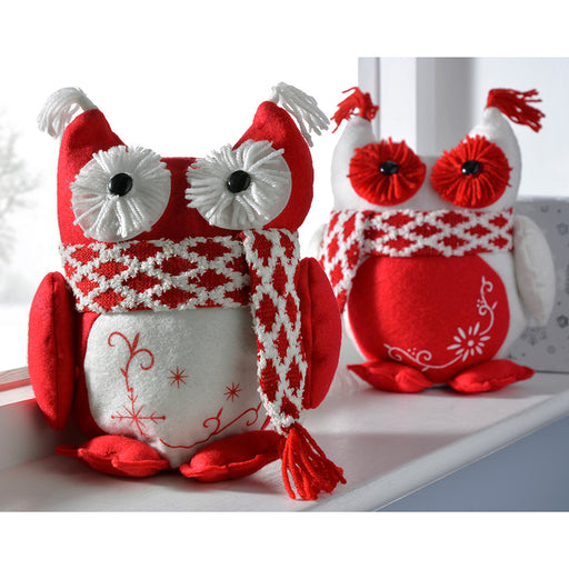 Christmas Owls Decoration, 28 cm - Red and White, Set of 2