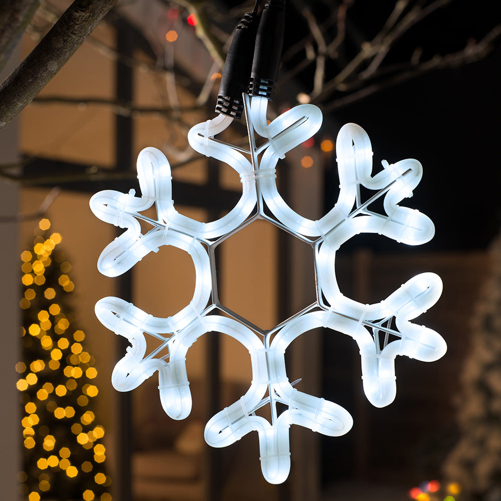 Connectable Static Frosted Christmas Snowflake Rope Light Silhouette, White