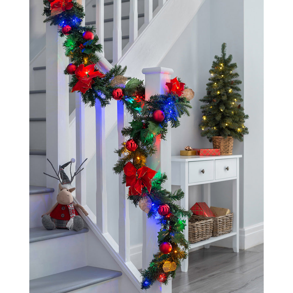 Pre-Lit Decorated Garland Illuminated with 40 Multi-Colour LED Lights, 9 ft - Red/Gold