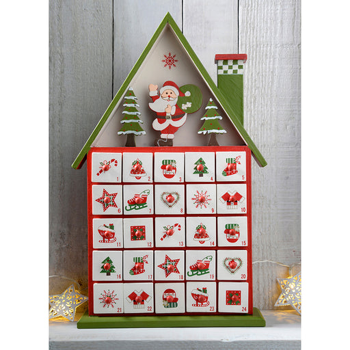 Wooden House Advent Calendar Christmas Decoration, 37 cm - Multi-Colour