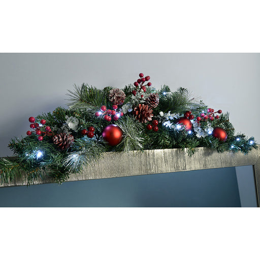 Pre-Lit Decorated Arch Garland Illuminated with 20 Cool White LED Lights, 90 cm - Frosted