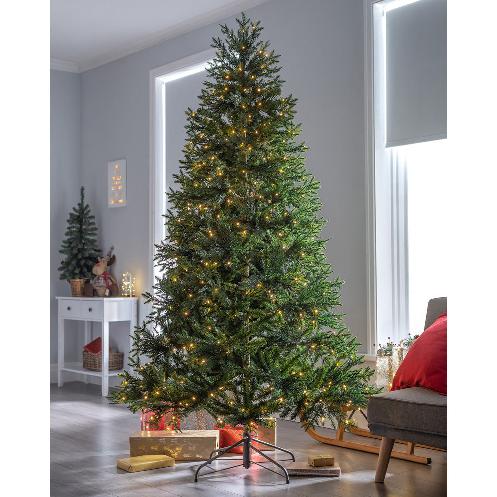 Pre-Lit Mountain Pine Natural Bark Multi-Function Christmas Tree with LED Lights