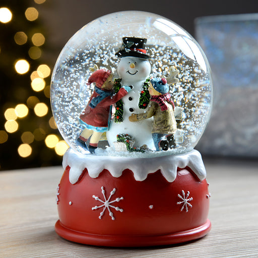Children and Snowman Snow Globe Christmas Decoration, Multi-Colour, 14 cm