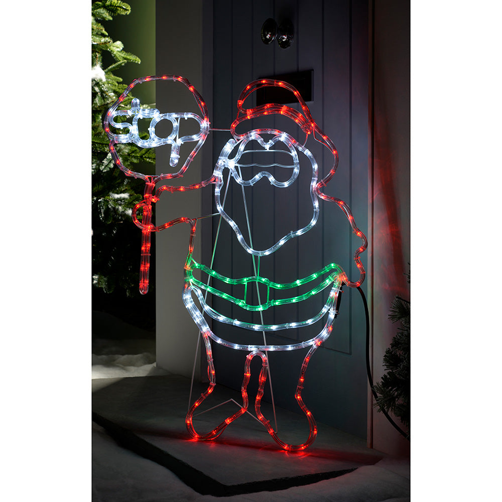 Pre-Lit LED Santa Stop Here Rope Light Window Silhouette, 81 cm - Multi-Colour