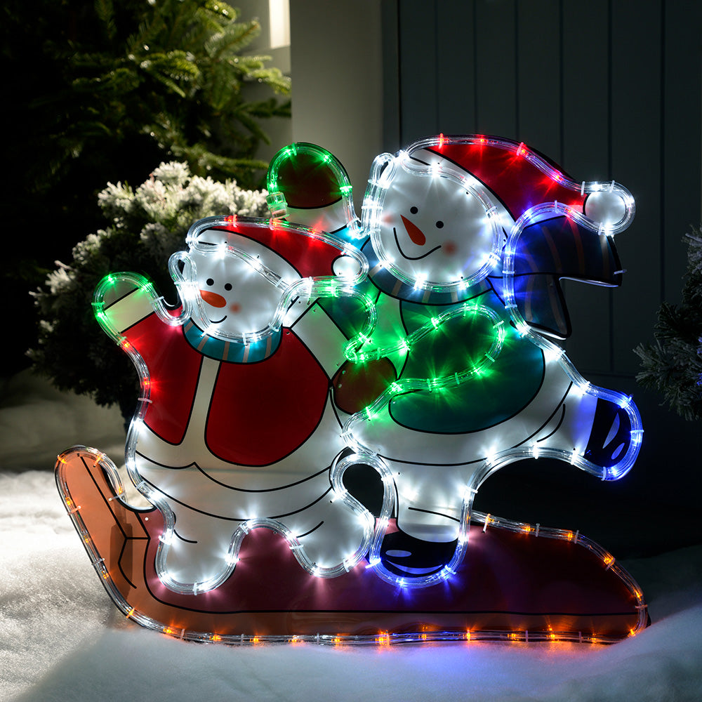 Skating Snowmen Rope Light Silhouette, 52 cm - Multi-Colour