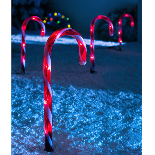 Connectable Candy Cane Pathway Lights, Set of 4, Red