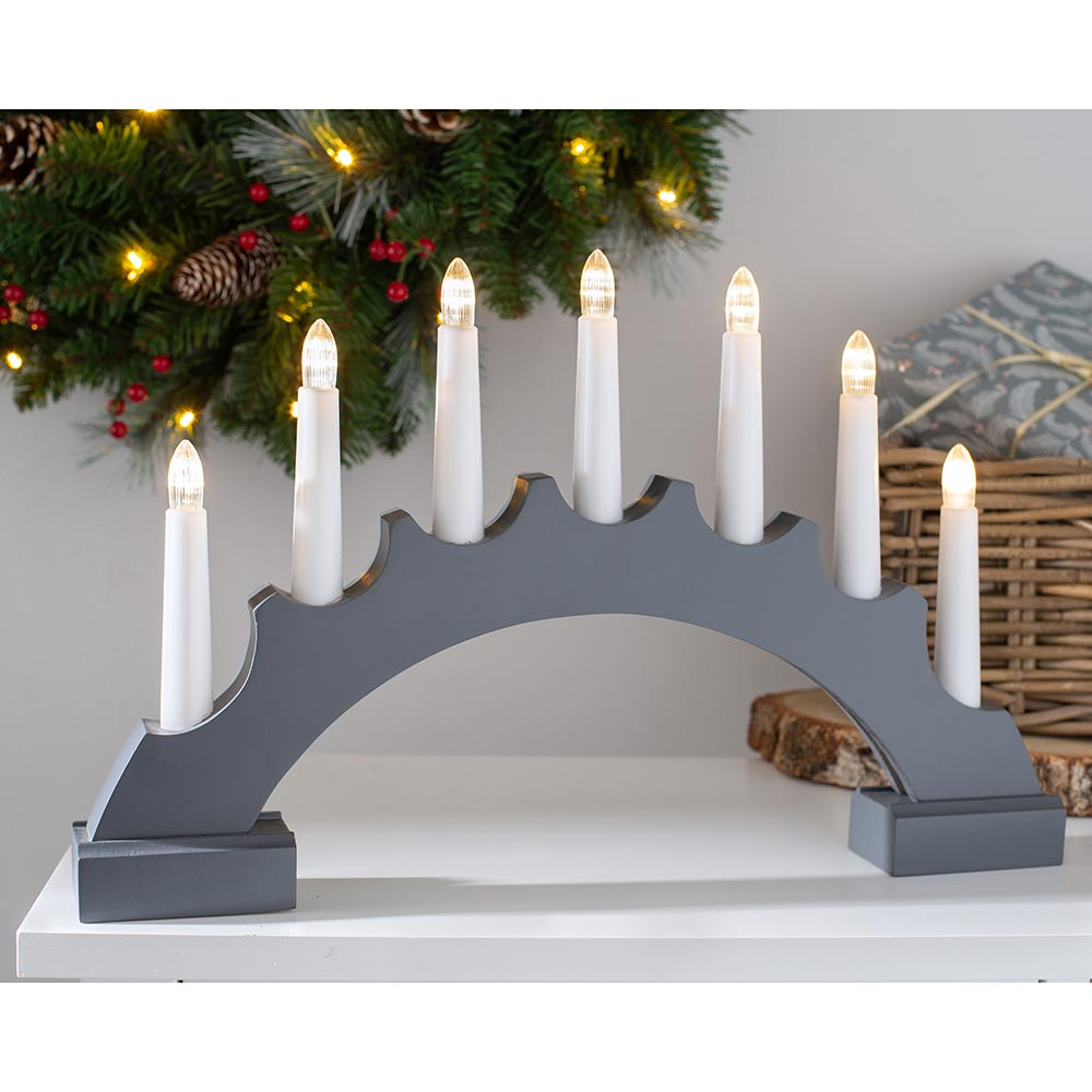 Pre-Lit Wooden Candle Bridge Christmas Decoration, 42 cm
