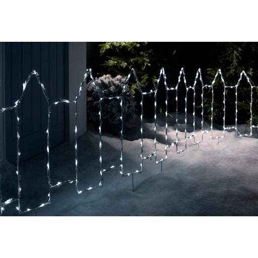 Pre-Lit Outdoor Christmas Fence Light, 380 cm - Bright White