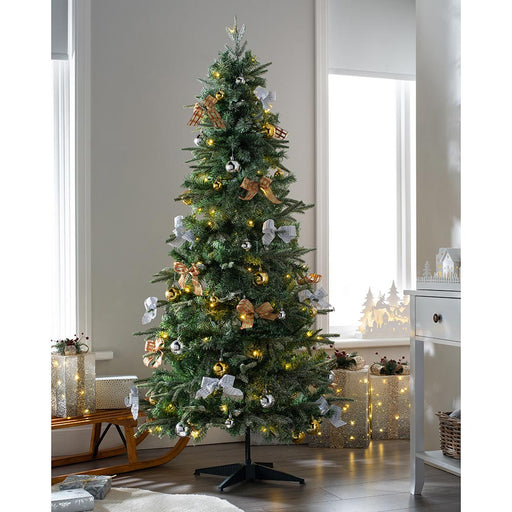 Pre-Lit Pop Up Decorated Christmas Tree with 100 Warm White LED Lights 6 ft / 1.8 m