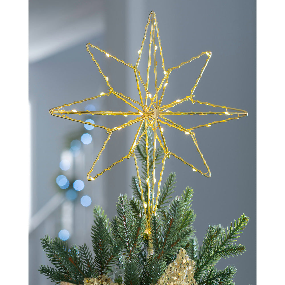 3D North Star Christmas Tree Topper, Warm White LED Lights, 37cm