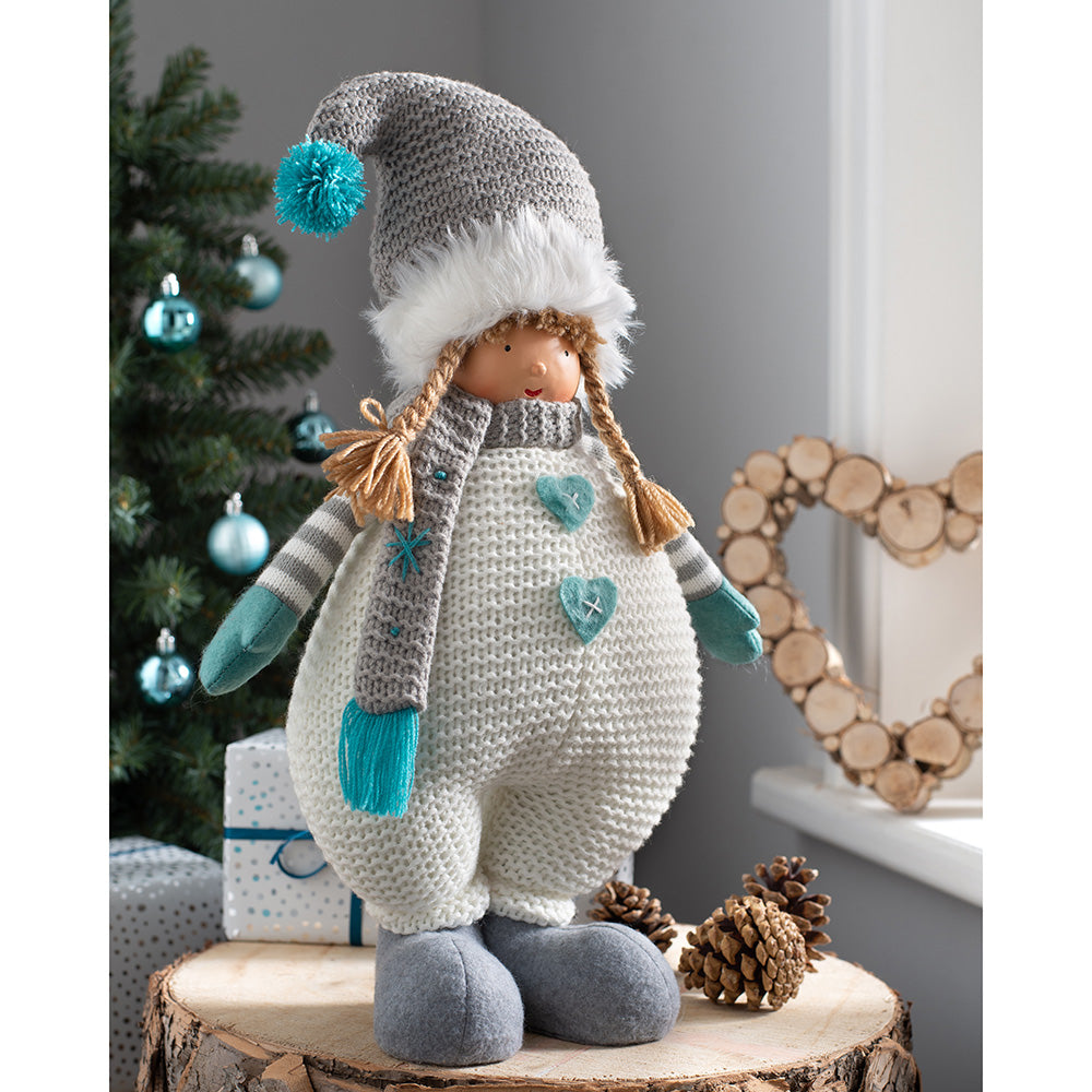 Standing Christmas Figurine, Cream and Blue, 45 cm