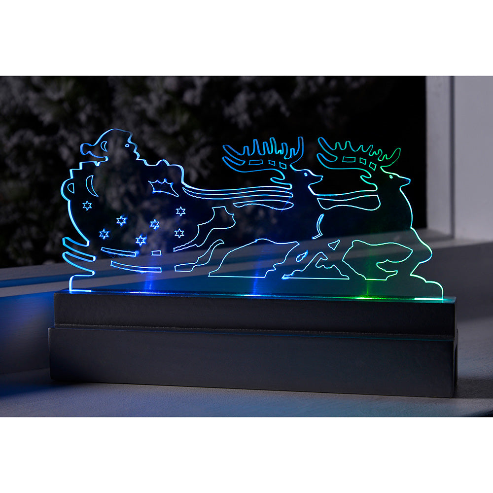 Pre-Lit Acrylic Santa in Sleigh & Reindeer Table/Window Decoration with Colour Changing LED Lights