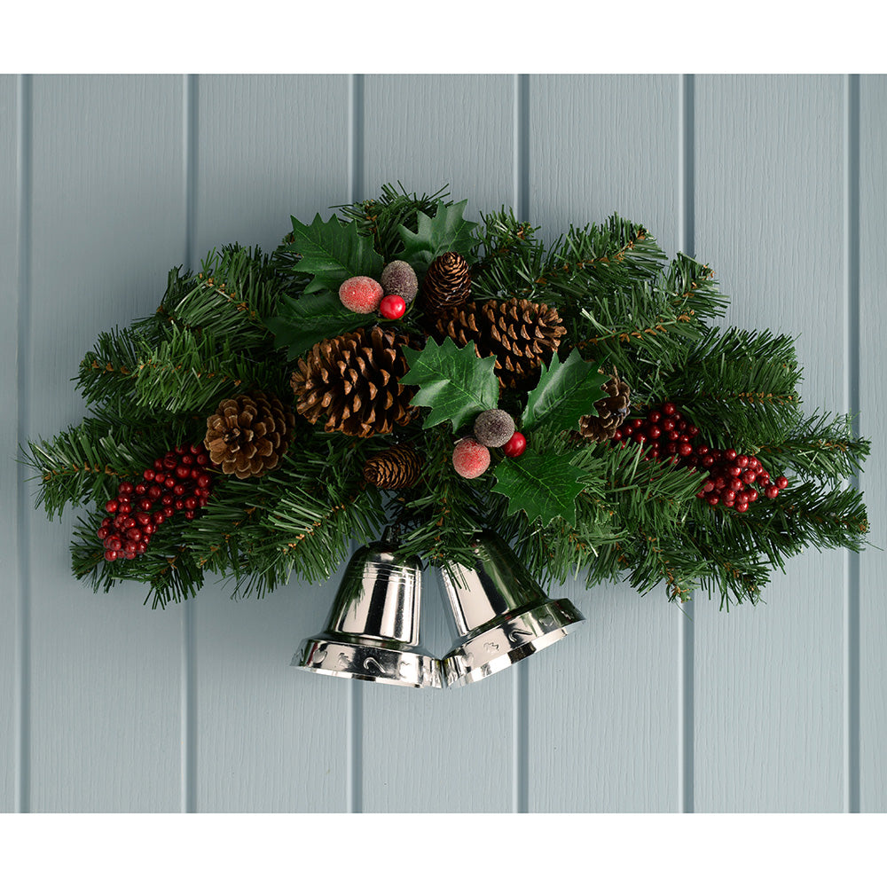 30 cm Natural Pine Cone and Berry Decorated Twin Bell Wall Christmas Decoration