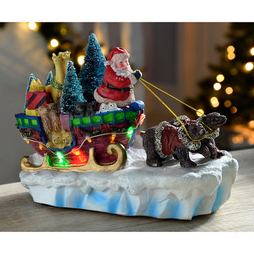 28 cm Walking Santa in Sleigh with Bears/ Colourful LED Lights Decoration