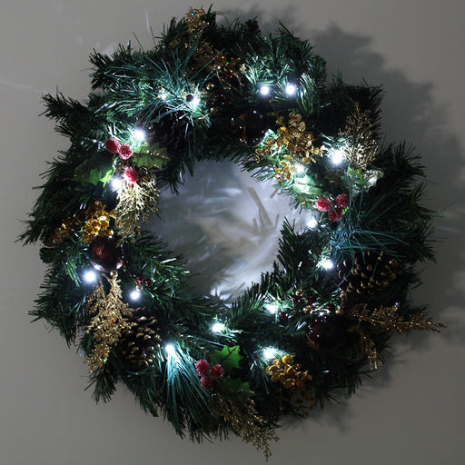 Pre-Lit Wreath with 20 Warm White LED Lights, 60 cm - Red/Gold
