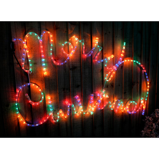 100 cm Large Merry Christmas Rope Lights Silhouette Decoration, Multi-Colour