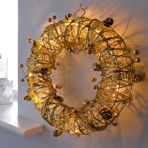 Pre-Lit Rattan Wreath, Warm White LED with Beads and Pinecones, 30 cm - Gold
