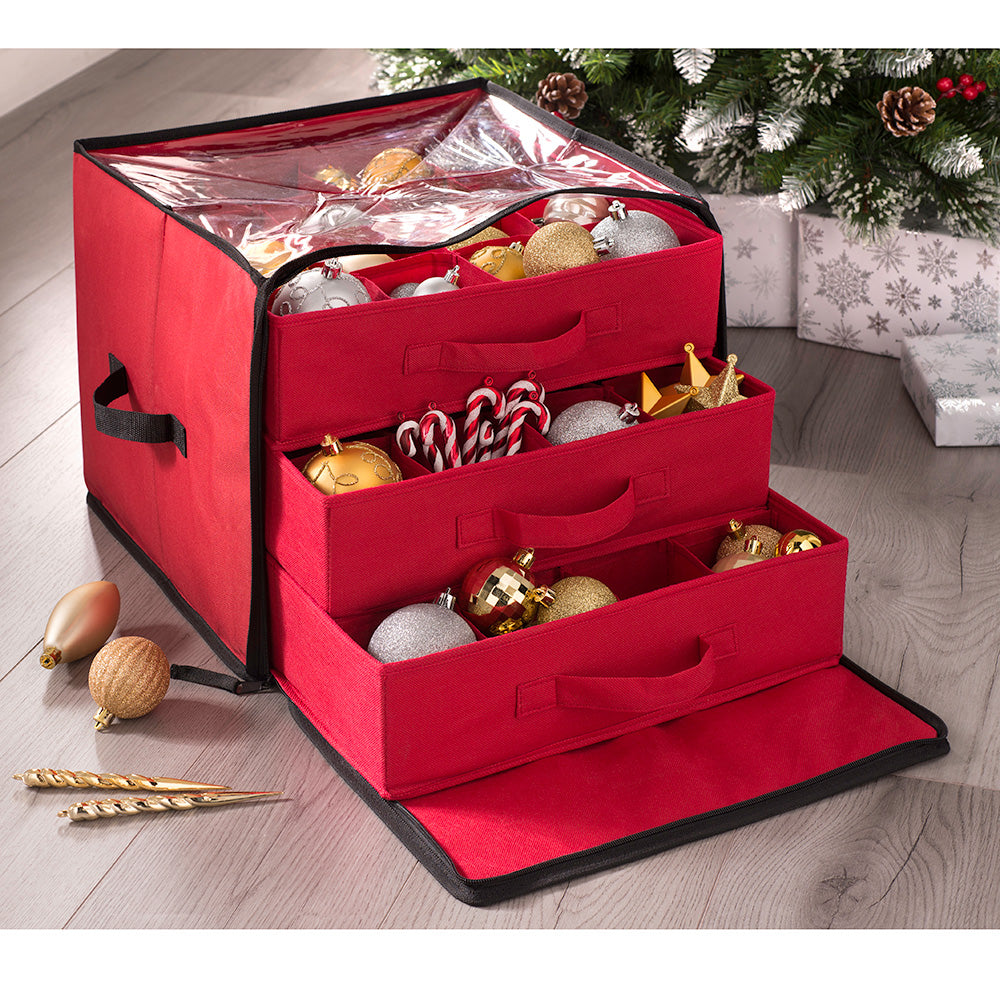 48 Piece Christmas Decoration and Ornament Storage Box, Red, 40 cm
