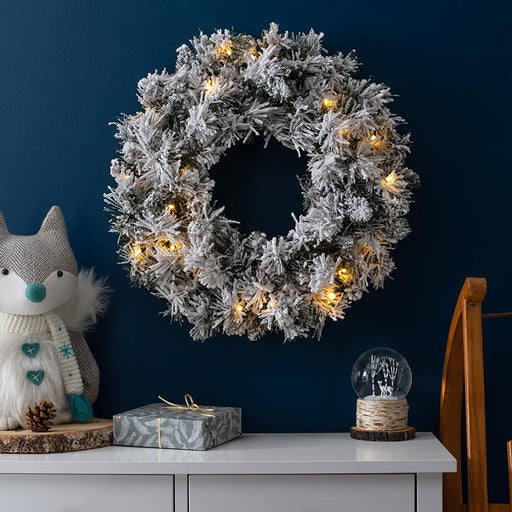 Pre-Lit LED Snow Flocked Spruce Wreath Christmas Decoration, 60 cm