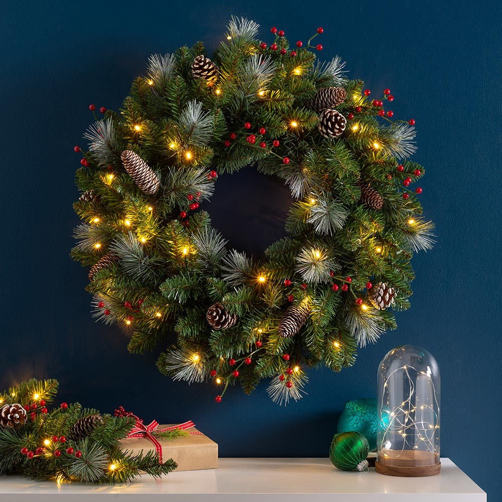 Pre-Lit Decorated Christmas Wreath, 40 Warm White LED Lights, 60 cm