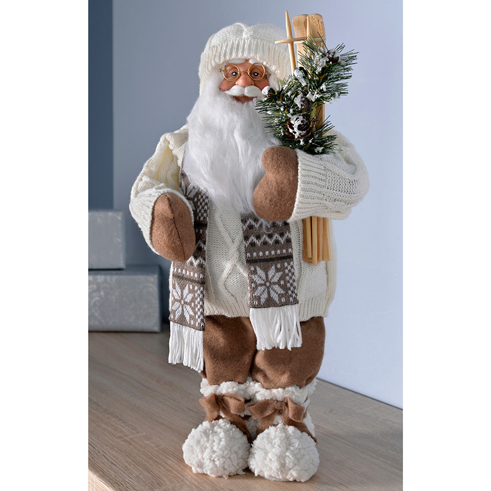 Standing Santa with Knitted Outfit Holding Ski's, 47 cm - White/Brown