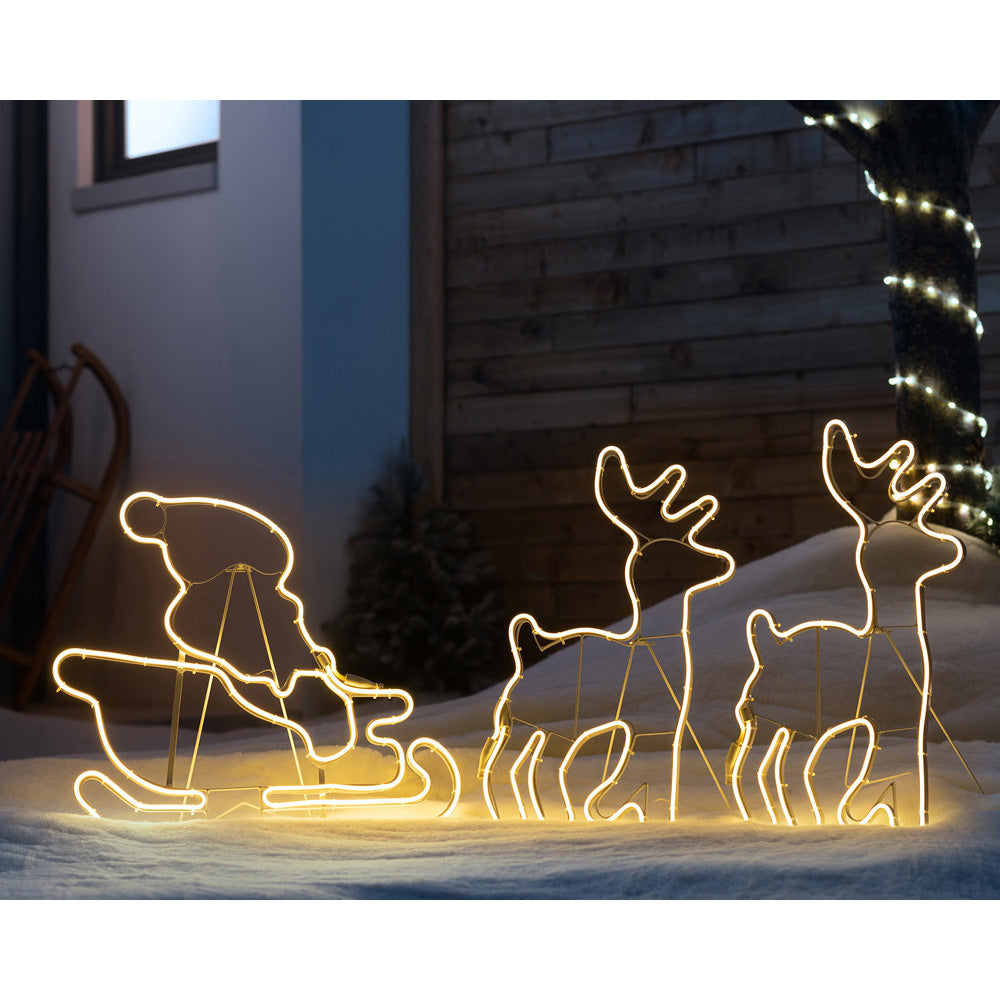Twin Reindeers with Santa Sleigh, Double-Sided Neon Rope Light, Warm White LEDs, 2.6 m