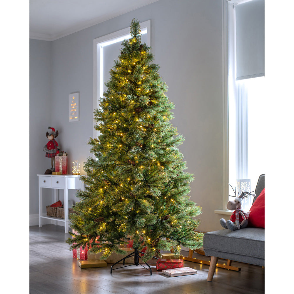 Shimmering Champagne Pre-Lit Multi-Function Christmas Tree with Warm White LED Lights